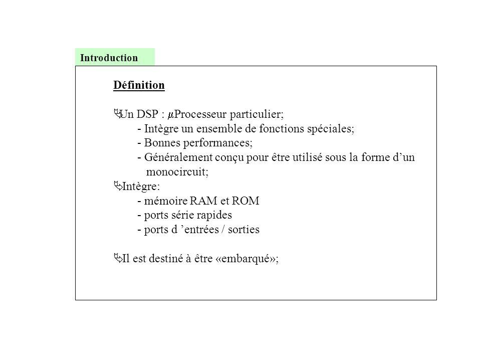 Définition  Un DSP :  Processeur particulier; - Intègre un ensemble de fonctions spéciales; - Bonnes performances; - Généralement conçu pour être ut