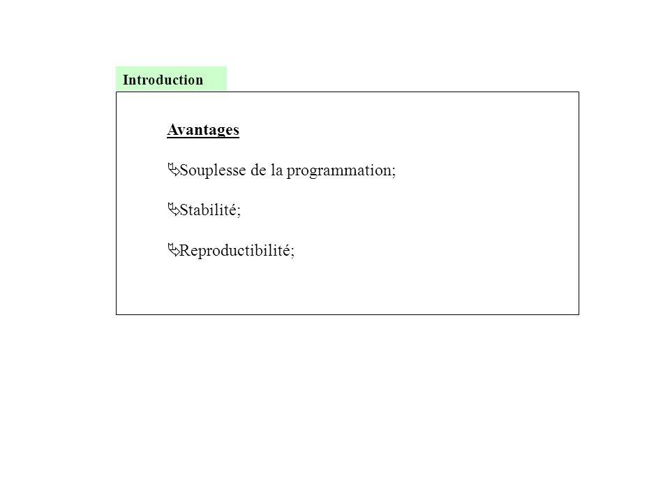 Avantages  Souplesse de la programmation;  Stabilité;  Reproductibilité; Introduction