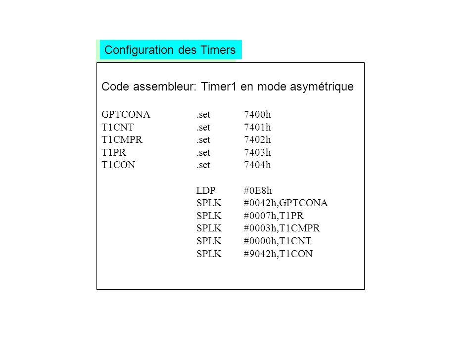 Code assembleur: Timer1 en mode asymétrique GPTCONA.set7400h T1CNT.set7401h T1CMPR.set7402h T1PR.set7403h T1CON.set7404h LDP#0E8h SPLK#0042h,GPTCONA S