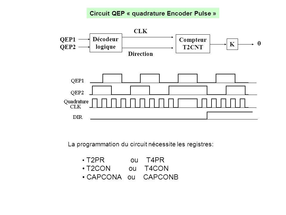 Circuit QEP « quadrature Encoder Pulse » La programmation du circuit nécessite les registres: • T2PR ou T4PR • T2CON ou T4CON • CAPCONA ou CAPCONB Déc