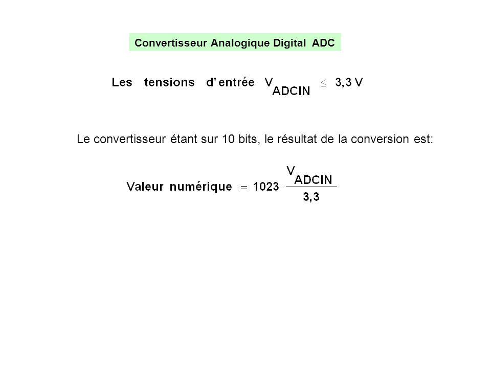 Convertisseur Analogique Digital ADC Le convertisseur étant sur 10 bits, le résultat de la conversion est: