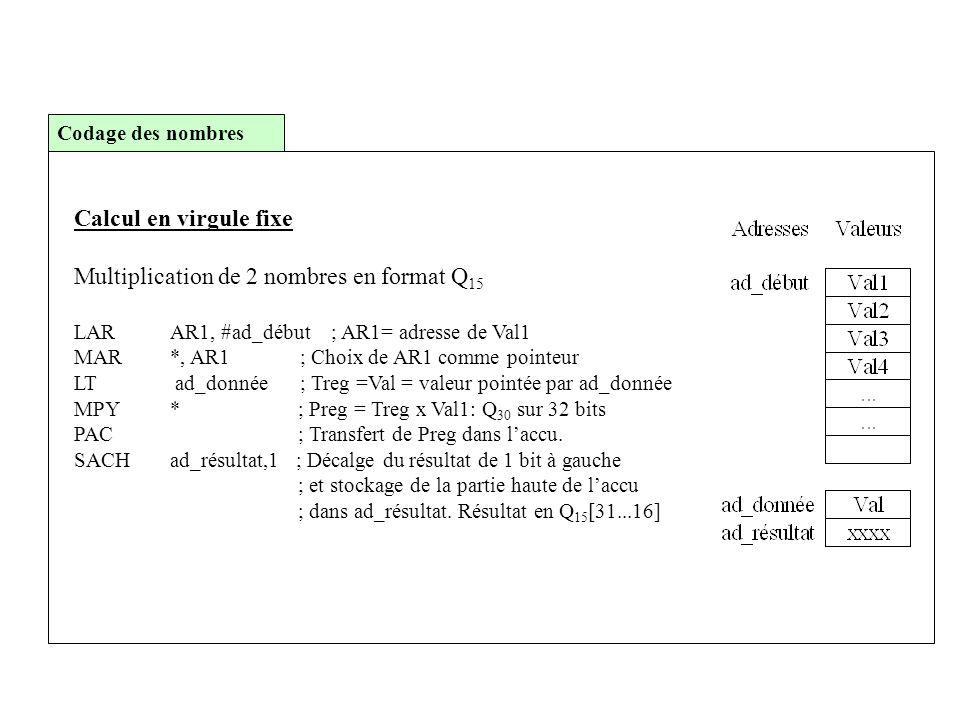Calcul en virgule fixe Multiplication de 2 nombres en format Q 15 LARAR1, #ad_début ; AR1= adresse de Val1 MAR*, AR1 ; Choix de AR1 comme pointeur LT