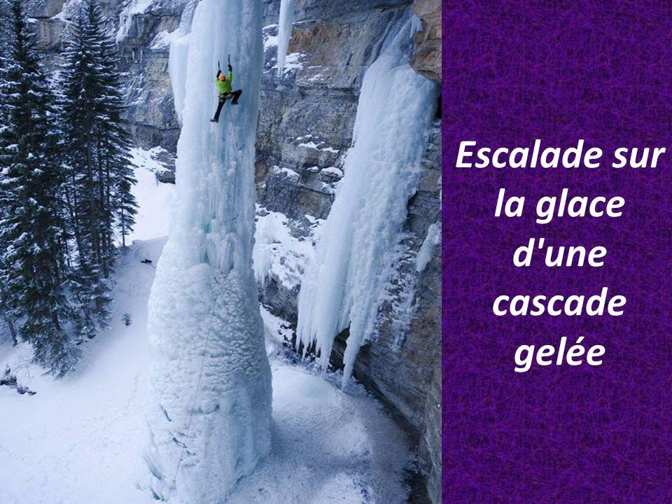 Escalade sur la glace d'une cascade gelée