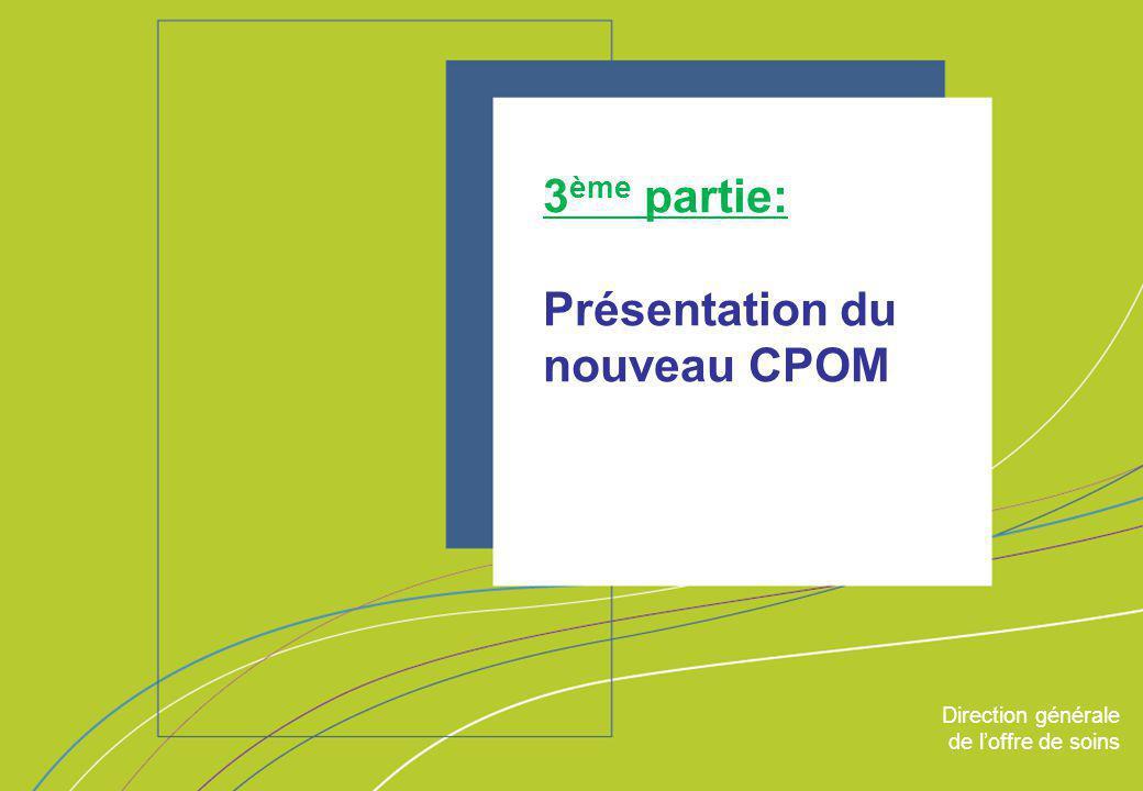 Direction générale de l'offre de soins - DGOS ORGANISATION & MISSIONS Direction générale de l'offre de soins 3 ème partie: Présentation du nouveau CPO