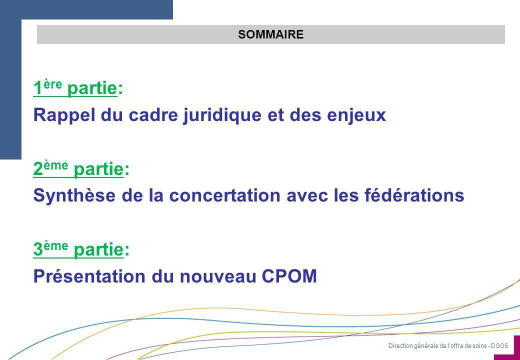 Direction générale de l'offre de soins - DGOS SOMMAIRE 1 ère partie: Rappel du cadre juridique et des enjeux 2 ème partie: Synthèse de la concertation