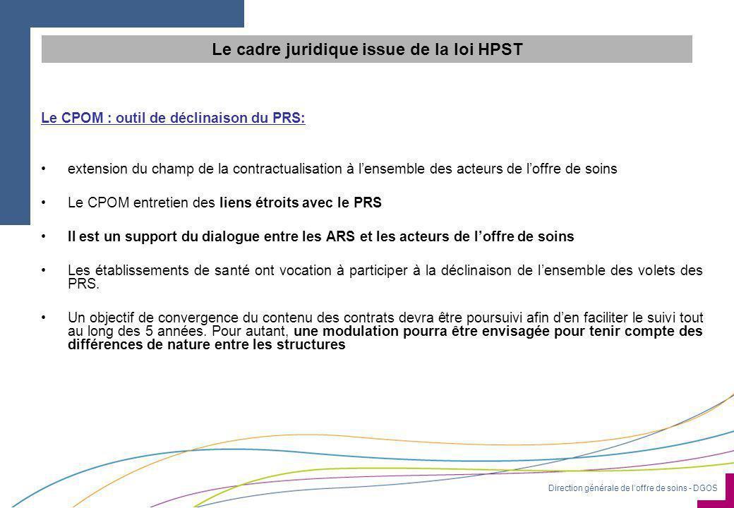 Direction générale de l'offre de soins - DGOS Le CPOM : outil de déclinaison du PRS: •extension du champ de la contractualisation à l'ensemble des act