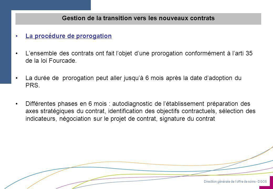 Direction générale de l'offre de soins - DGOS Gestion de la transition vers les nouveaux contrats •La procédure de prorogation •L'ensemble des contrats ont fait l'objet d'une prorogation conformément à l'arti 35 de la loi Fourcade.