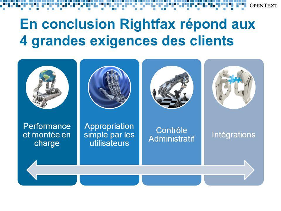 En conclusion Rightfax répond aux 4 grandes exigences des clients Performance et montée en charge Appropriation simple par les utilisateurs Contrôle Administratif Intégrations