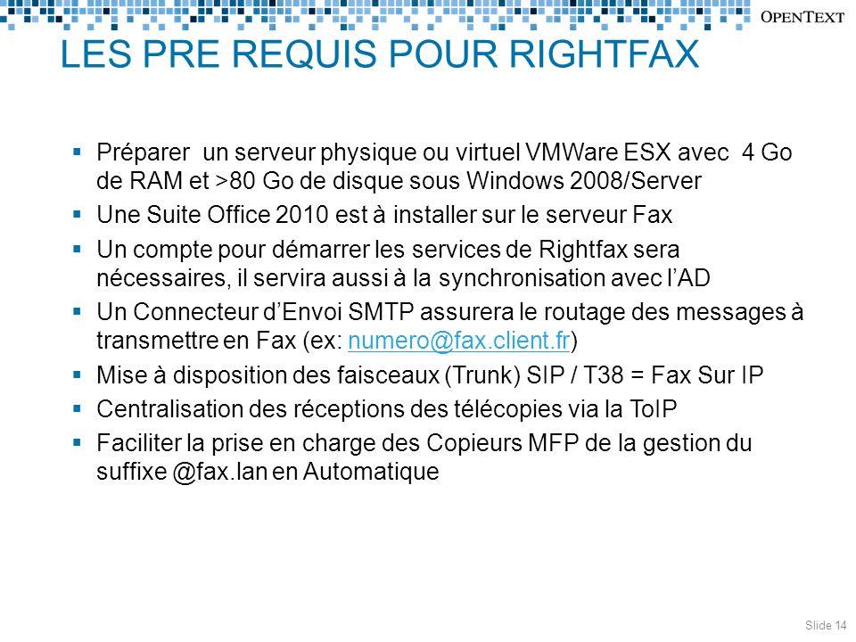LES PRE REQUIS POUR RIGHTFAX  Préparer un serveur physique ou virtuel VMWare ESX avec 4 Go de RAM et >80 Go de disque sous Windows 2008/Server  Une Suite Office 2010 est à installer sur le serveur Fax  Un compte pour démarrer les services de Rightfax sera nécessaires, il servira aussi à la synchronisation avec l'AD  Un Connecteur d'Envoi SMTP assurera le routage des messages à transmettre en Fax (ex: numero@fax.client.fr)numero@fax.client.fr  Mise à disposition des faisceaux (Trunk) SIP / T38 = Fax Sur IP  Centralisation des réceptions des télécopies via la ToIP  Faciliter la prise en charge des Copieurs MFP de la gestion du suffixe @fax.lan en Automatique Slide 14