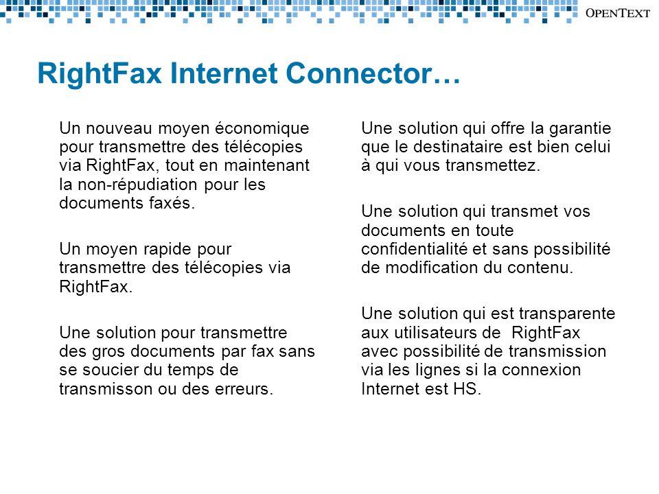 Un nouveau moyen économique pour transmettre des télécopies via RightFax, tout en maintenant la non-répudiation pour les documents faxés.
