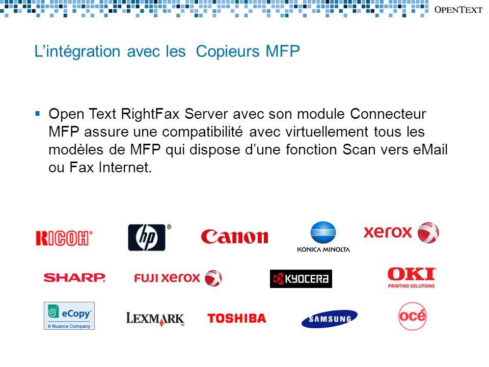 L'intégration avec les Copieurs MFP  Open Text RightFax Server avec son module Connecteur MFP assure une compatibilité avec virtuellement tous les modèles de MFP qui dispose d'une fonction Scan vers eMail ou Fax Internet.