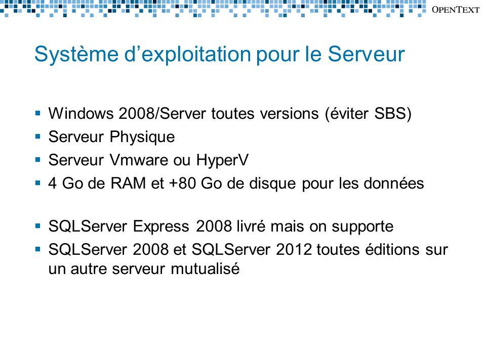 Système d'exploitation pour le Serveur  Windows 2008/Server toutes versions (éviter SBS)  Serveur Physique  Serveur Vmware ou HyperV  4 Go de RAM et +80 Go de disque pour les données  SQLServer Express 2008 livré mais on supporte  SQLServer 2008 et SQLServer 2012 toutes éditions sur un autre serveur mutualisé