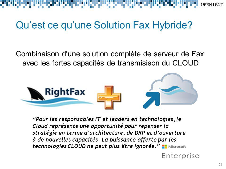 RightFax Connect  La force de RightFax sans la complexité de la connectique téléphonique  Les lien téléphonique fax sont externalisé dans le Cloud d'OpenText  Simplicité de configuration  Capacités Flexibles (8 000 ports dispo)  Facilité d'ajouter autant de SDA que souhaté dans le monde entier  La sécurité, la confidentialité et la gestion des historiques et des pistes d'Audit de RightFax restent inchangées Les communications Fax sécurisées Via le Cloud