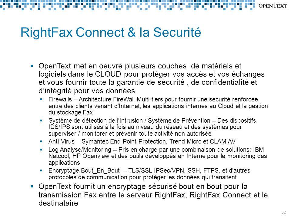 RightFax Connect & la Securité  OpenText met en oeuvre plusieurs couches de matériels et logiciels dans le CLOUD pour protéger vos accès et vos échanges et vous fournir toute la garantie de sécurité, de confidentialité et d'intégrité pour vos données.