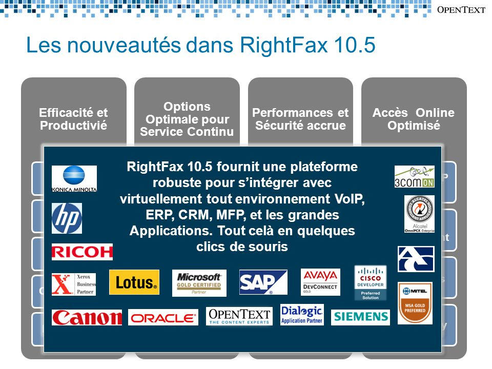Les nouveautés dans RightFax 10.5 Efficacité et Productivié Searchable PDF Barcode Routing Delegate Handling Outlook 2010Lotus Notes Options Optimale