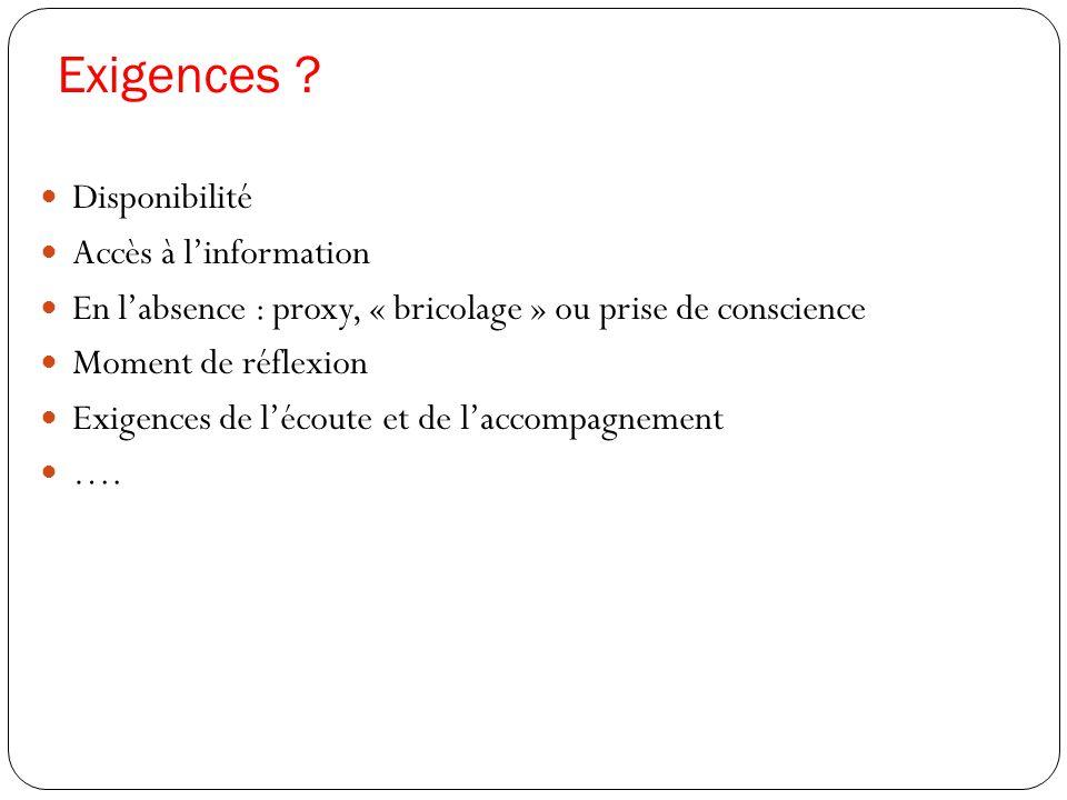 Exigences ?  Disponibilité  Accès à l'information  En l'absence : proxy, « bricolage » ou prise de conscience  Moment de réflexion  Exigences de