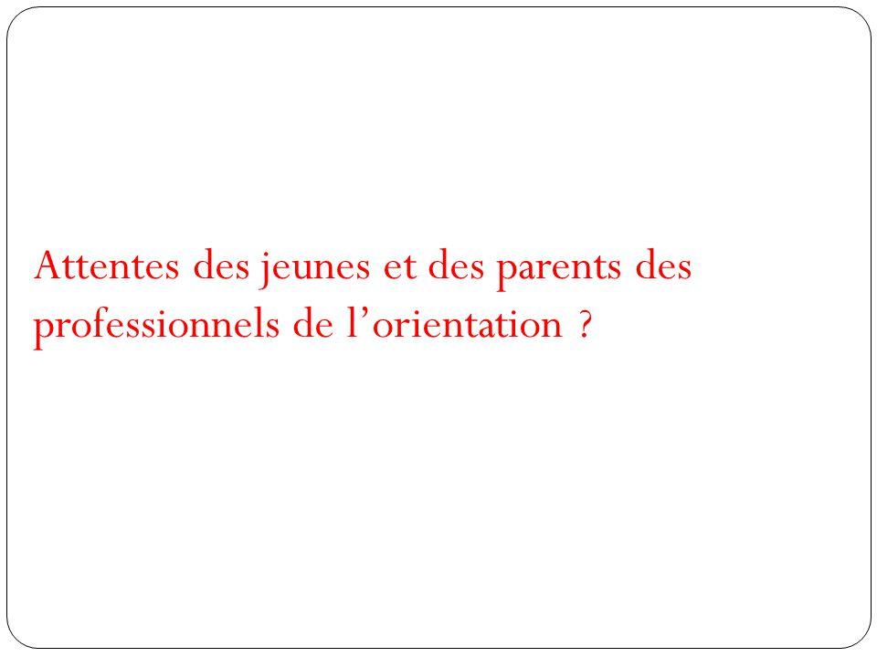 Attentes des jeunes et des parents des professionnels de l'orientation ?