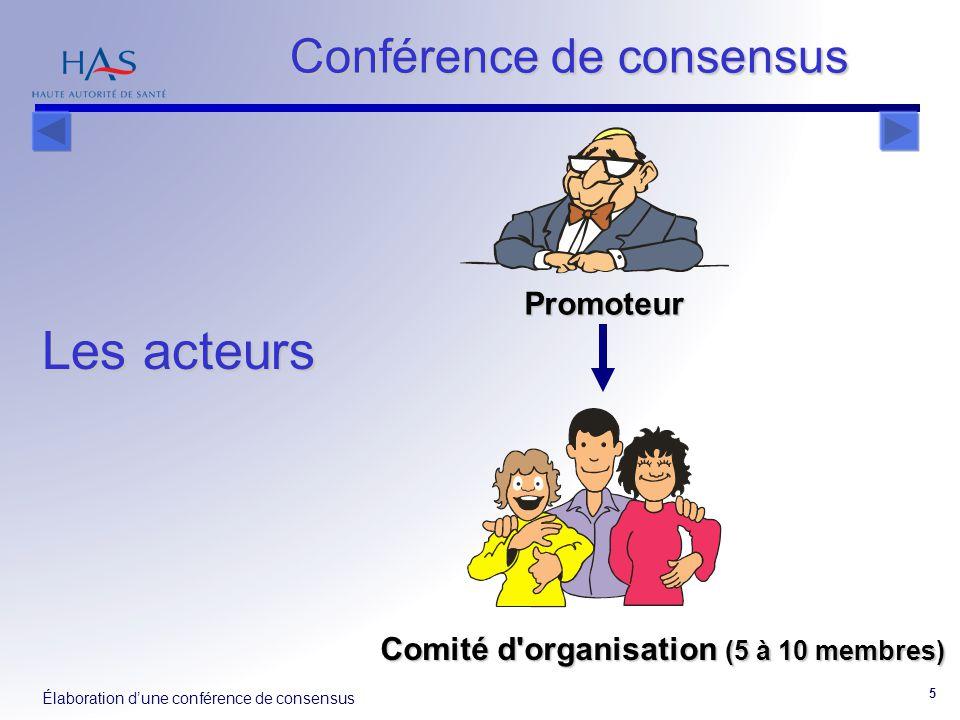 Élaboration d'une conférence de consensus 5 Comité d'organisation (5 à 10 membres) Promoteur Conférence de consensus Les acteurs