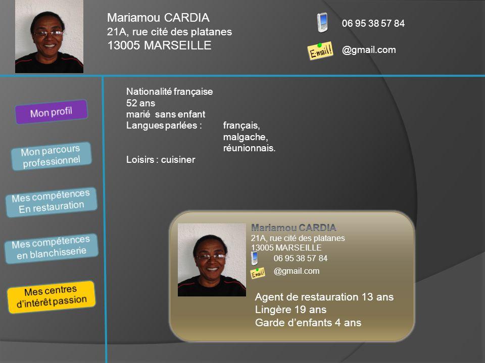 Nationalité française 52 ans marié sans enfant Langues parlées : français, malgache, réunionnais. Loisirs : cuisiner Mariamou CARDIA 21A, rue cité des