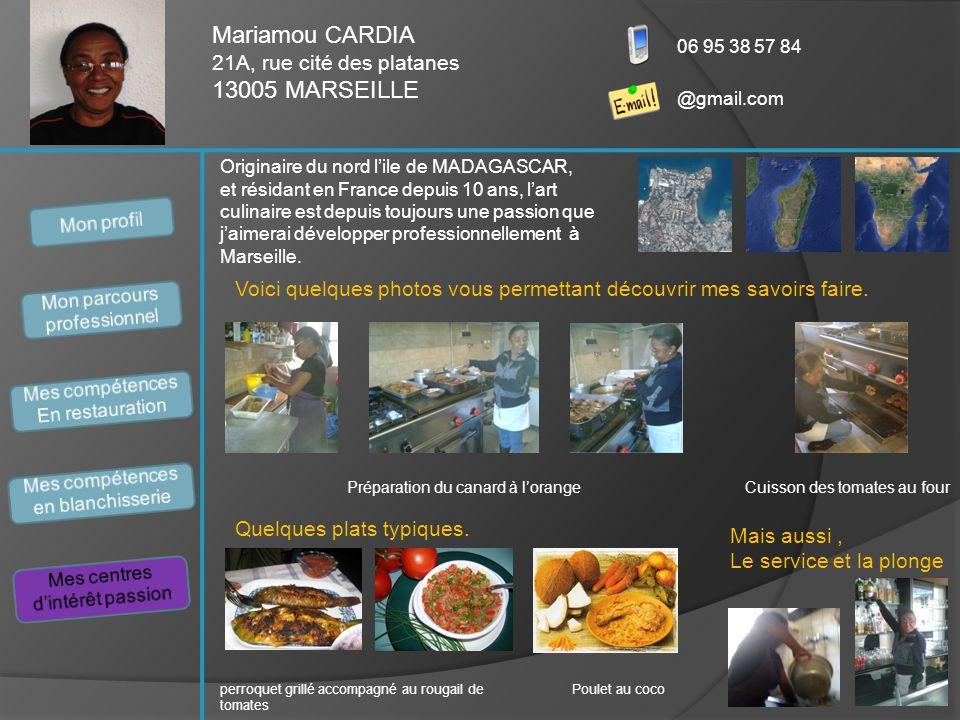 Mariamou CARDIA 21A, rue cité des platanes 13005 MARSEILLE 06 95 38 57 84 @gmail.com Originaire du nord l'ile de MADAGASCAR, et résidant en France dep