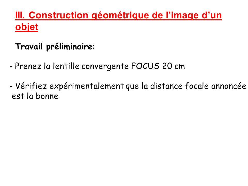 III. Construction géométrique de l'image d'un objet Travail préliminaire: - Prenez la lentille convergente FOCUS 20 cm - Vérifiez expérimentalement qu