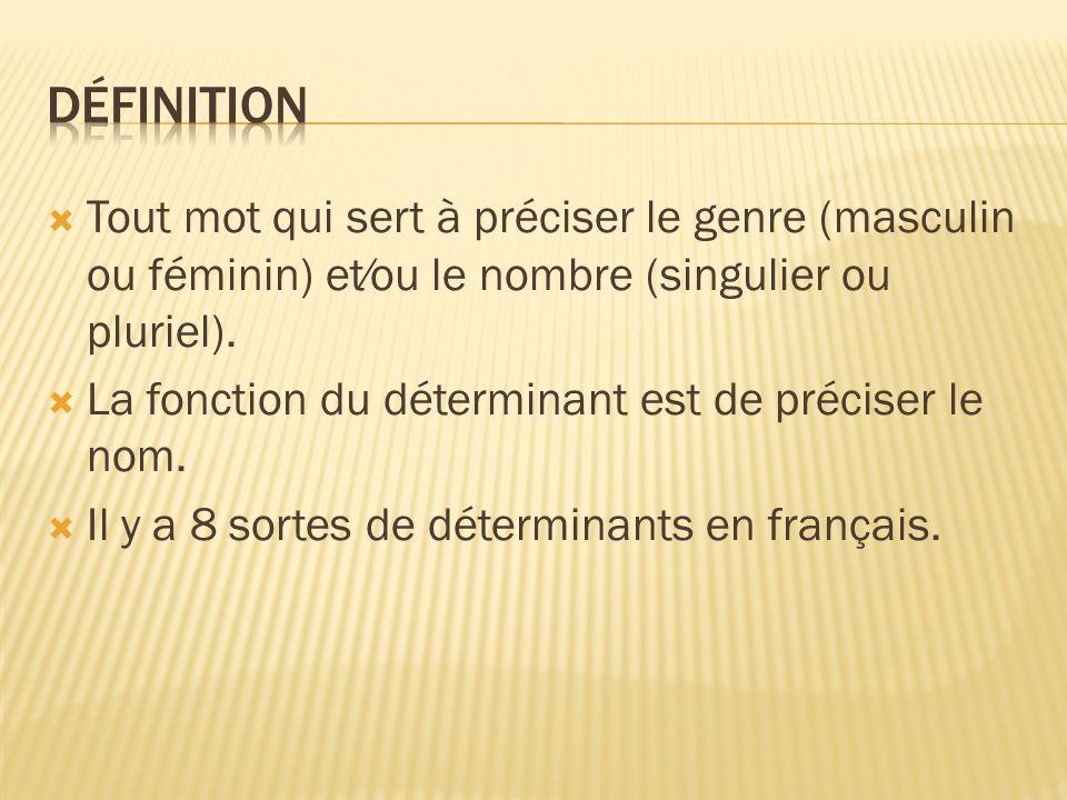  Tout mot qui sert à préciser le genre (masculin ou féminin) et⁄ou le nombre (singulier ou pluriel).  La fonction du déterminant est de préciser le