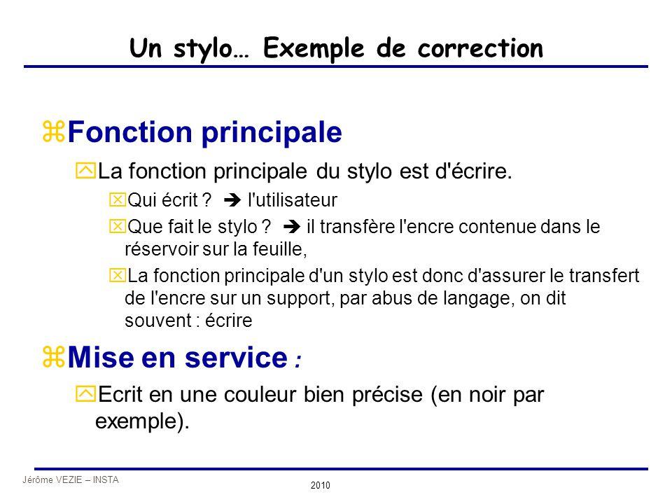 Jérôme VEZIE – INSTA 2010 Un stylo… Exemple de correction zFonction principale yLa fonction principale du stylo est d'écrire. xQui écrit ?  l'utilisa