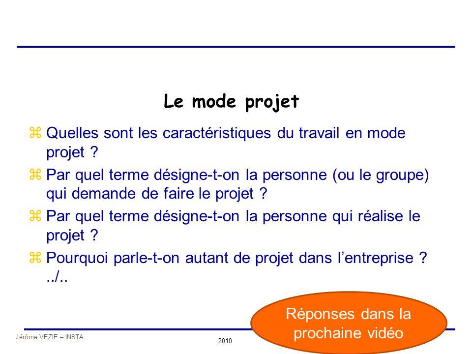 Jérôme VEZIE – INSTA 2010 Le mode projet zQuelles sont les caractéristiques du travail en mode projet ? zPar quel terme désigne-t-on la personne (ou l