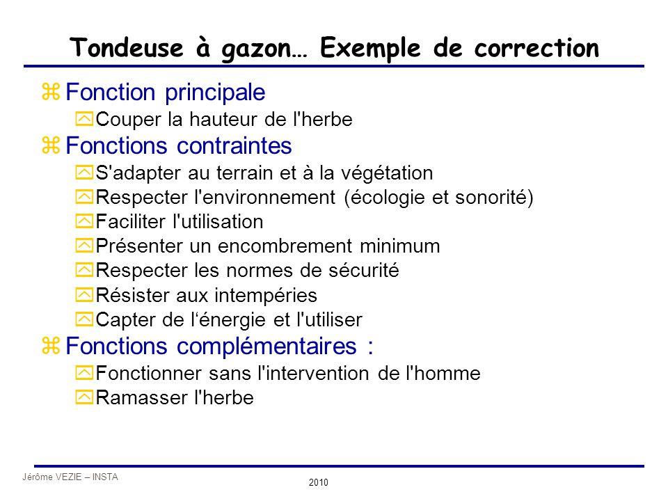 Jérôme VEZIE – INSTA 2010 Tondeuse à gazon… Exemple de correction zFonction principale yCouper la hauteur de l'herbe zFonctions contraintes yS'adapter