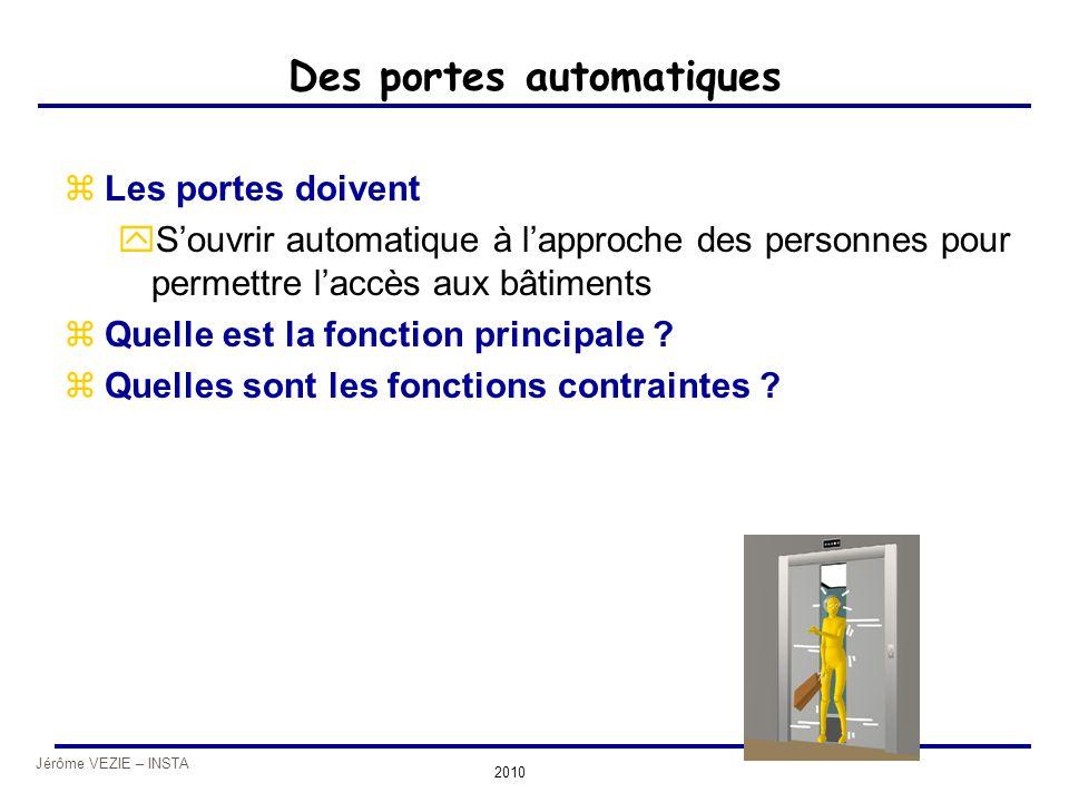 Jérôme VEZIE – INSTA 2010 Des portes automatiques zLes portes doivent yS'ouvrir automatique à l'approche des personnes pour permettre l'accès aux bâti
