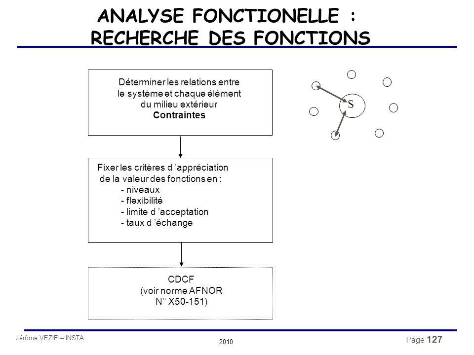 Jérôme VEZIE – INSTA 2010 Page 127 ANALYSE FONCTIONELLE : RECHERCHE DES FONCTIONS S Fixer les critères d 'appréciation de la valeur des fonctions en :