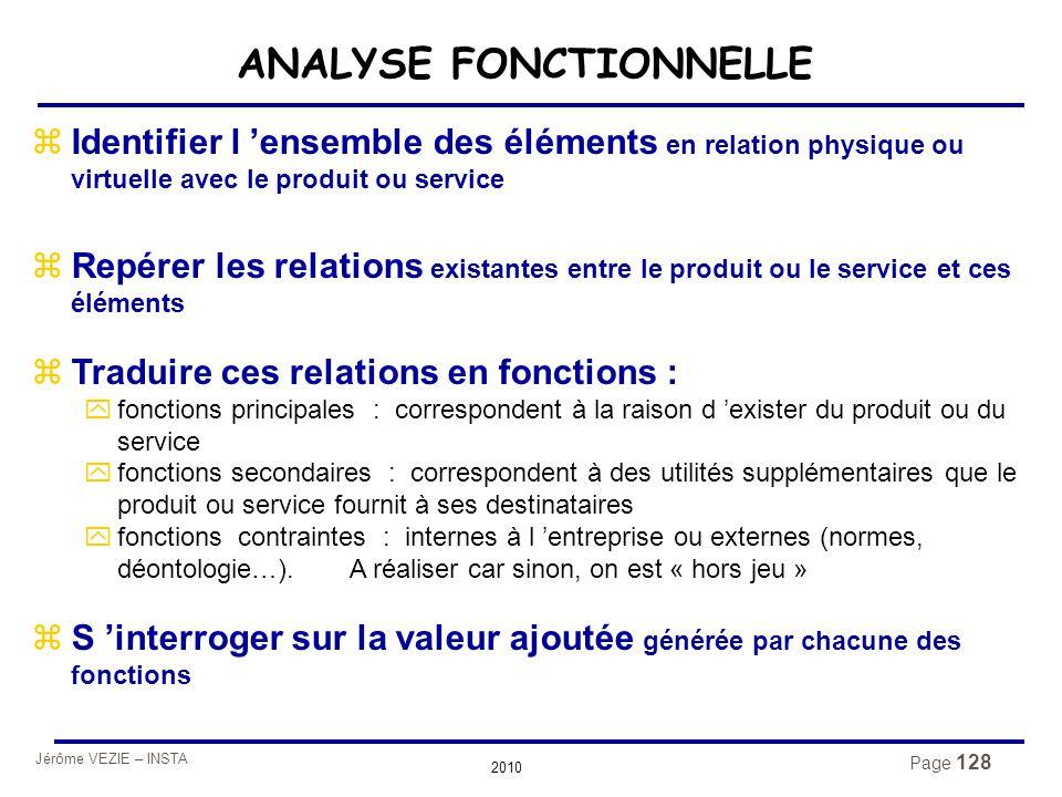 Jérôme VEZIE – INSTA 2010 Page 128 ANALYSE FONCTIONNELLE zIdentifier l 'ensemble des éléments en relation physique ou virtuelle avec le produit ou ser