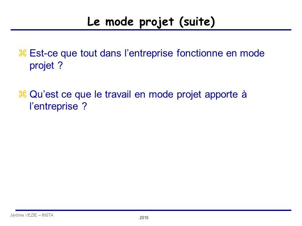 Jérôme VEZIE – INSTA 2010 Le mode projet (suite) zEst-ce que tout dans l'entreprise fonctionne en mode projet ? zQu'est ce que le travail en mode proj