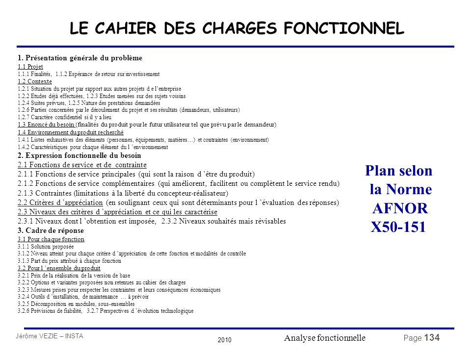 Jérôme VEZIE – INSTA 2010 Page 134 1. Présentation générale du problème 1.1 Projet 1.1.1 Finalités, 1.1.2 Espérance de retour sur investissement 1.2 C
