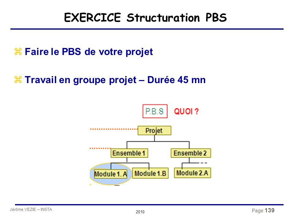 Jérôme VEZIE – INSTA 2010 Page 139 EXERCICE Structuration PBS zFaire le PBS de votre projet zTravail en groupe projet – Durée 45 mn