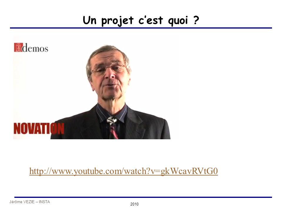 Jérôme VEZIE – INSTA 2010 Un projet c'est quoi ? http://www.youtube.com/watch?v=gkWcavRVtG0