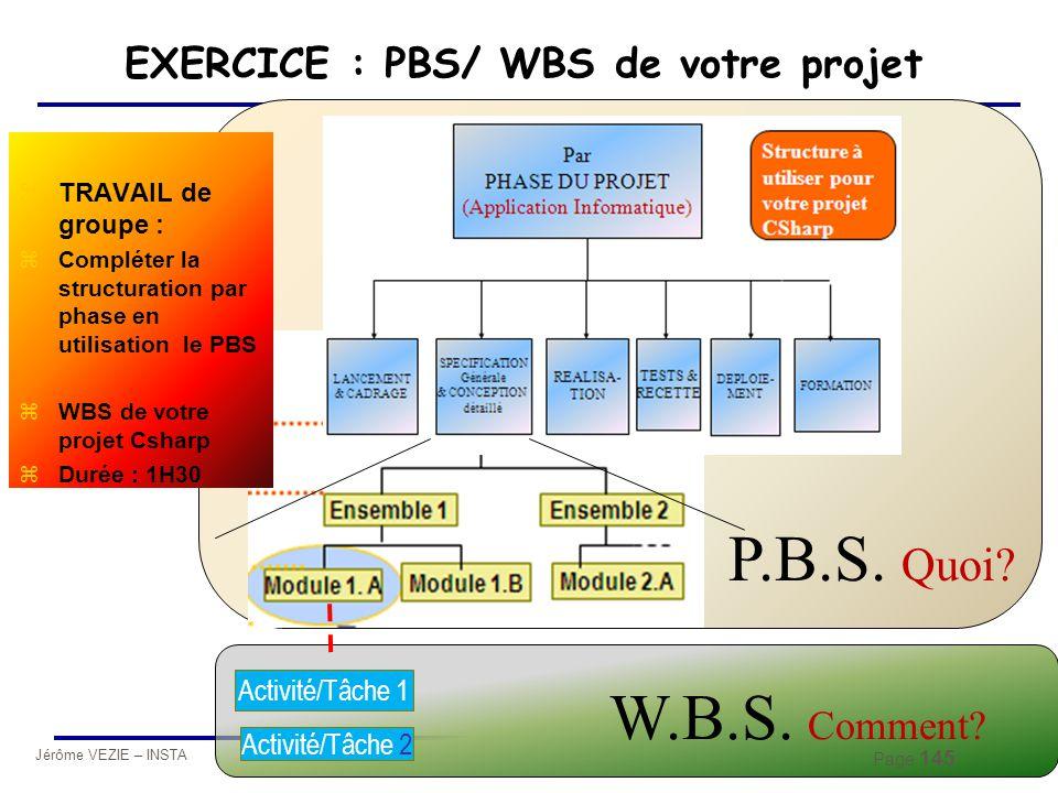 Jérôme VEZIE – INSTA 2010 Page 145 EXERCICE : PBS/ WBS de votre projet Activité/Tâche 1 Activité/Tâche 2 W.B.S. Comment? zTRAVAIL de groupe : zComplét