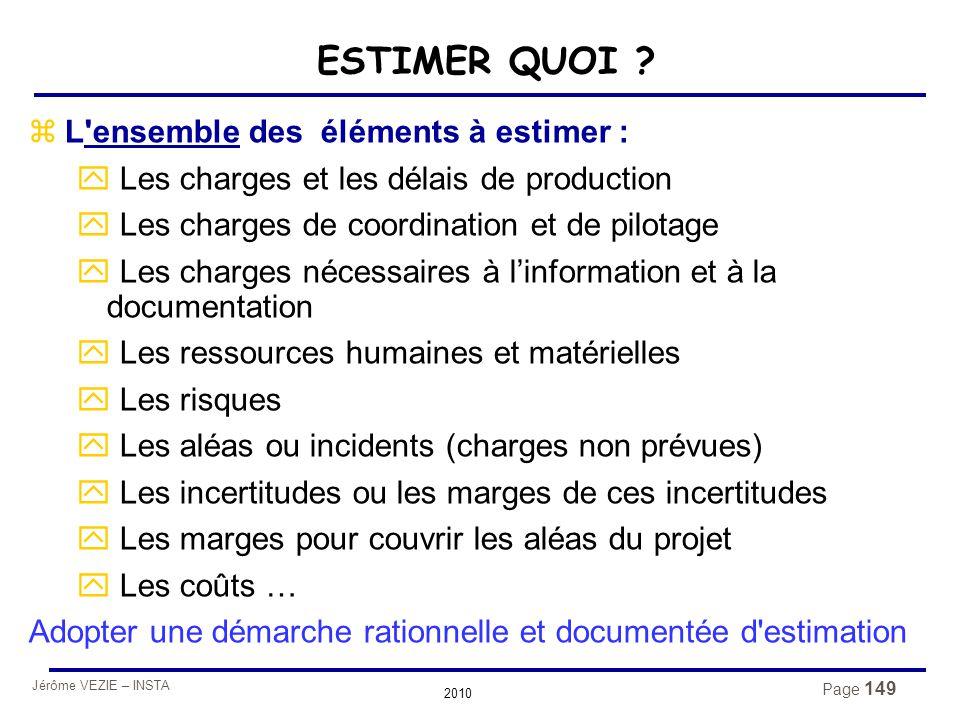 Jérôme VEZIE – INSTA 2010 Page 149 ESTIMER QUOI ? zL'ensemble des éléments à estimer : y Les charges et les délais de production y Les charges de coor