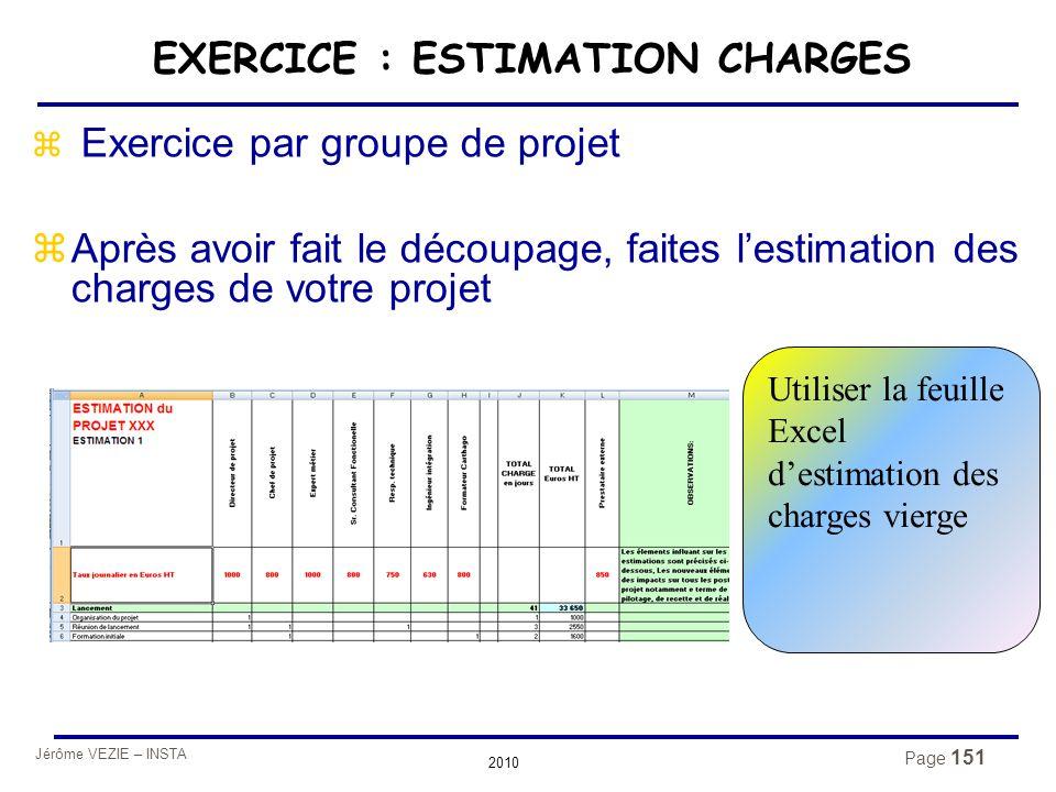 Jérôme VEZIE – INSTA 2010 Page 151 EXERCICE : ESTIMATION CHARGES z Exercice par groupe de projet zAprès avoir fait le découpage, faites l'estimation d