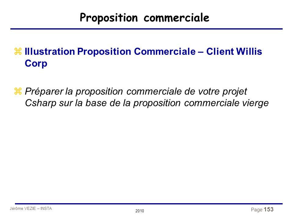 Jérôme VEZIE – INSTA 2010 Page 153 Proposition commerciale zIllustration Proposition Commerciale – Client Willis Corp zPréparer la proposition commerc