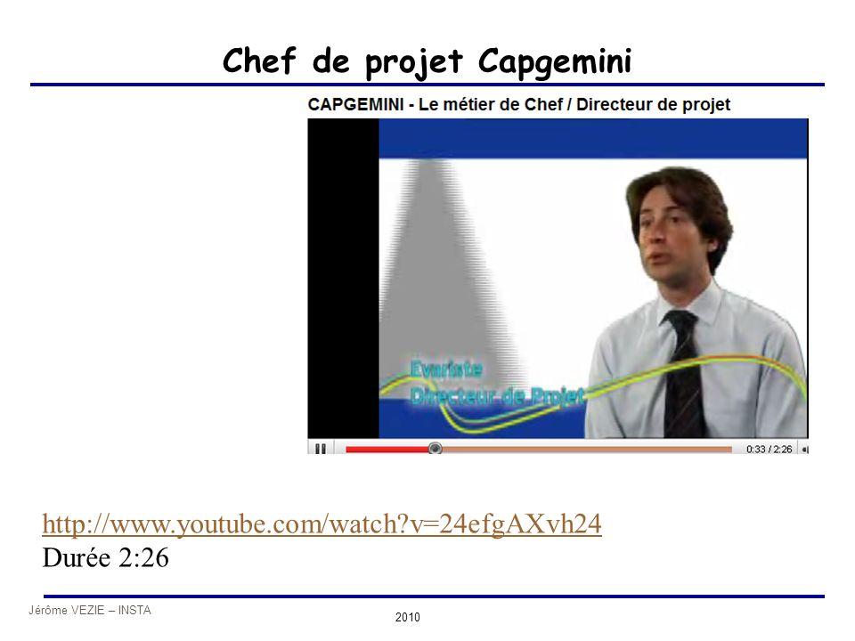 Jérôme VEZIE – INSTA 2010 Chef de projet Capgemini http://www.youtube.com/watch?v=24efgAXvh24 Durée 2:26