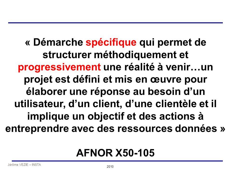Jérôme VEZIE – INSTA 2010 « Démarche spécifique qui permet de structurer méthodiquement et progressivement une réalité à venir…un projet est défini et