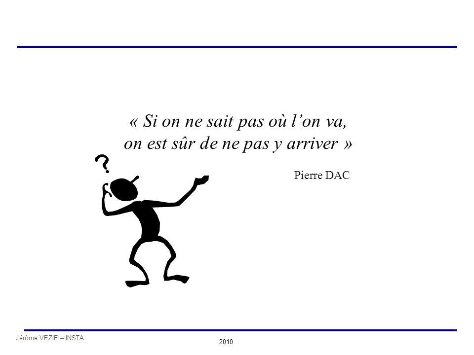 Jérôme VEZIE – INSTA 2010 « Si on ne sait pas où l'on va, on est sûr de ne pas y arriver » Pierre DAC