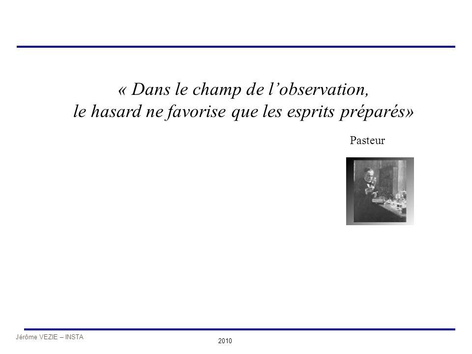 Jérôme VEZIE – INSTA 2010 « Dans le champ de l'observation, le hasard ne favorise que les esprits préparés» Pasteur