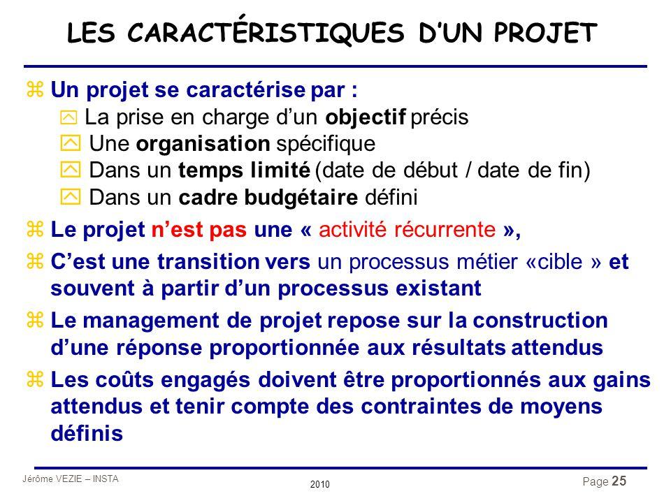 Jérôme VEZIE – INSTA 2010 Page 25 zUn projet se caractérise par : y La prise en charge d'un objectif précis y Une organisation spécifique y Dans un te