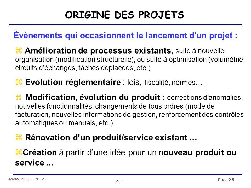 Jérôme VEZIE – INSTA 2010 Page 28 ORIGINE DES PROJETS Évènements qui occasionnent le lancement d'un projet :  Amélioration de processus existants, su