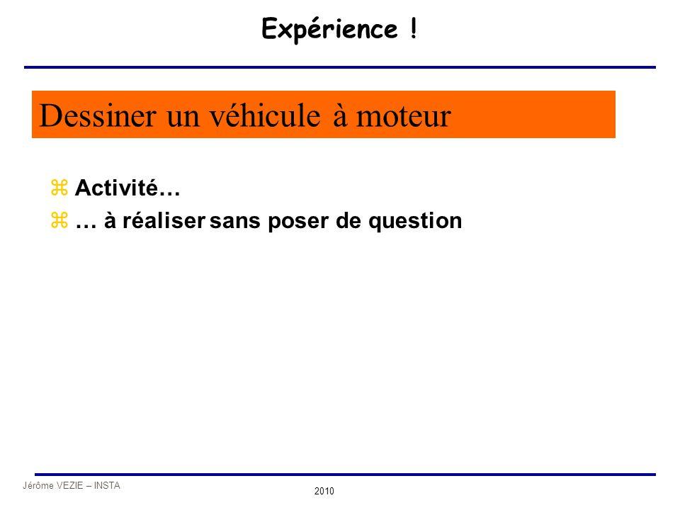 Jérôme VEZIE – INSTA 2010 Expérience ! zActivité… z… à réaliser sans poser de question Dessiner un véhicule à moteur