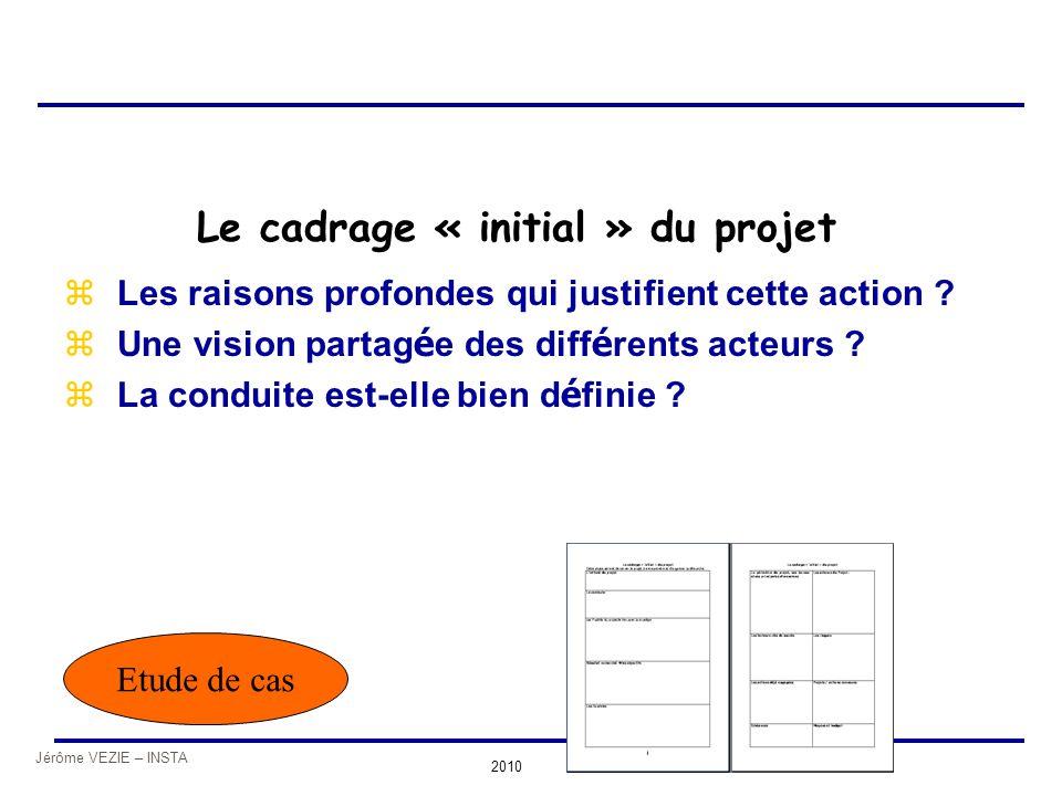 Jérôme VEZIE – INSTA 2010 Le cadrage « initial » du projet zLes raisons profondes qui justifient cette action ? zUne vision partag é e des diff é rent