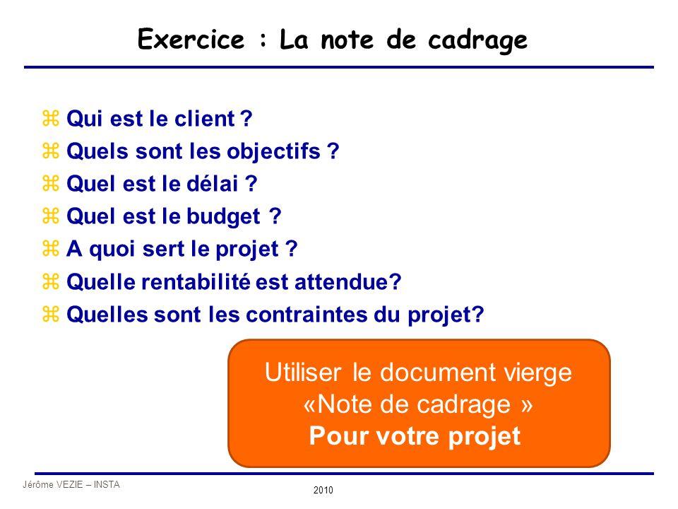 Jérôme VEZIE – INSTA 2010 Exercice : La note de cadrage zQui est le client ? zQuels sont les objectifs ? zQuel est le délai ? zQuel est le budget ? zA
