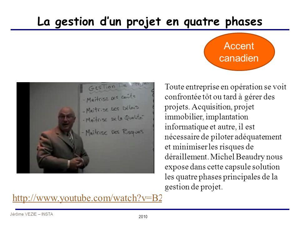 Jérôme VEZIE – INSTA 2010 La gestion d'un projet en quatre phases http://www.youtube.com/watch?v=B2wtSr3WKhk Accent canadien Toute entreprise en opéra